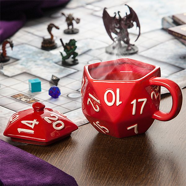 This Critical Hit d20 Mug holds 12 oz. of your favorite brew. The lid allows you to steep your tea or just keep your beverage of choice warm longer.