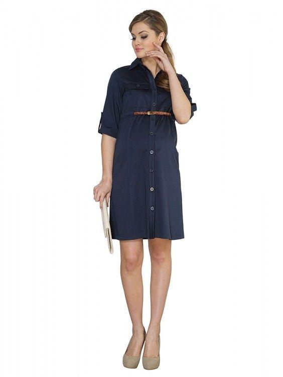 Hamile Giyim Yarım Kol Düğmeli Ofis Elbise