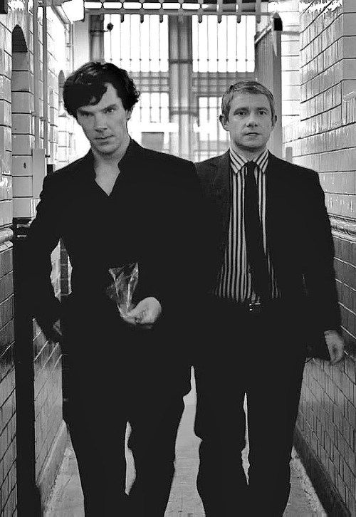 Sherlock and John. This picture is a summary of there relationship. John is angry at Sherlock, but Sherlock looks like he has a master plan in motion.