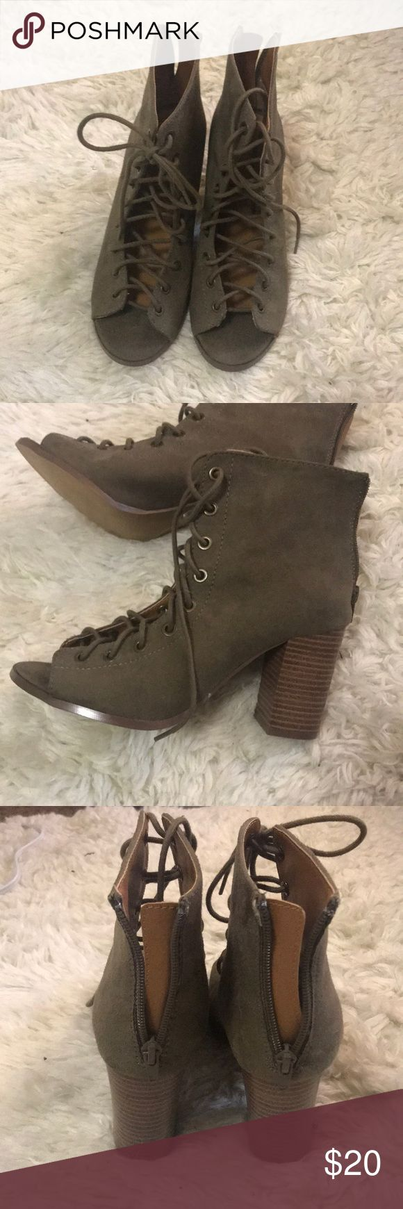"Charlotte Russe Lace Up Booties Olive Size 7 Brand new! Soles look a bit dirty from trying on in store but never worn out. Great color and style for this season! Size 7 in women's. It's an olive green color. Heels are approx. 4"". Very comfortable because of the chunky heel. Charlotte Russe Shoes Lace Up Boots"