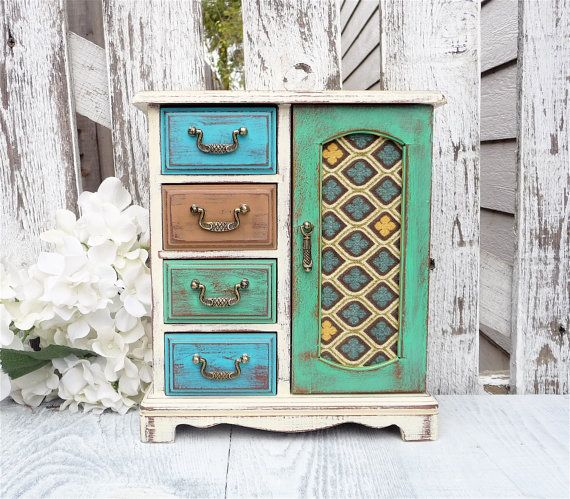 Teal / Green Shabby Chic Jewelry box Multi by HuckleberryVntg, $64.00