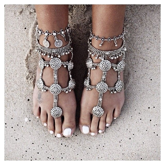 Happy feet  in foreversoles barefoot sandals + lostloverstore anklets (by gypsylovinlight)