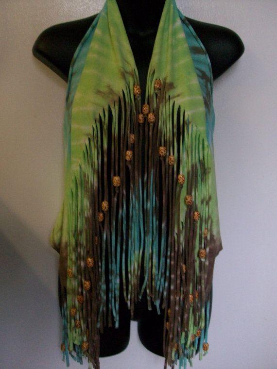 Tie dye shirt, vest, top, hippie boho top, festival wear, fringe, beads, summer cover up