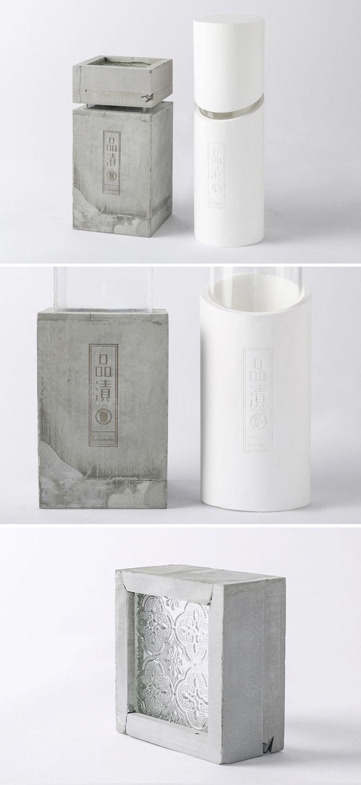 傳統市面上玻璃罐裝的醃漬物標識複雜、包裝上也不夠精緻,「品漬」設計出全新包裝,用水泥加上古早雕花玻璃,增添復古感覺,讓漬物更有故事性。
