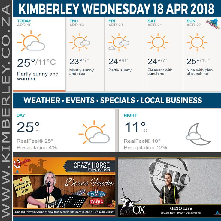 KimberleyToday, Wednesday 18/04/2018 - http://www.kimberley.org.za/kimberleytoday-wednesday-18-04-2018/?utm_source=PN&utm_medium=Pinterest+History+KImberley.org.za&utm_campaign=NxtScrpt%2Bfrom%2BKimberley+City+Info - 🗓#KimberleyToday, Wednesday 18/04/2018 🌦 Today: Pleasant and warmer with partial sunshine. 🌑 Tonight: Mainly clear. 🌟 Max UV Index: 5 ⛈ Thunderstorms: 24% 🌬 Wind: NW 11 km/h &#