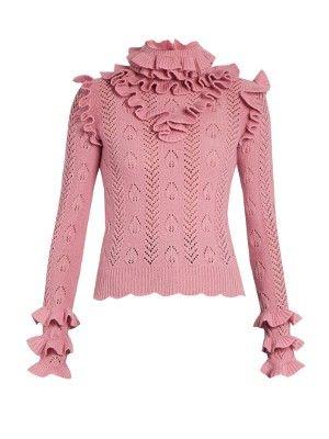 Ruffle-trimmed pointelle-knit wool sweater | Gucci | MATCHESFASHION.COM UK
