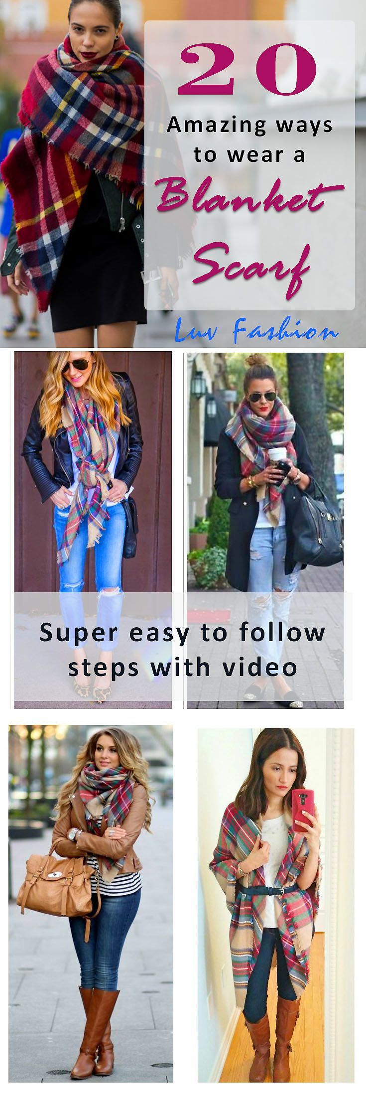 20 SUPER easy ways to wear a blanket scarf including videos. A blanket scarf can be a handful when you are not used to them - blanket scarf how to wear a rectangular - how to tie a blanket scarf video - blanket scarf tutorial how to wear a #luvfashion #blanketscarf #howtowearscarf #blanketscarves
