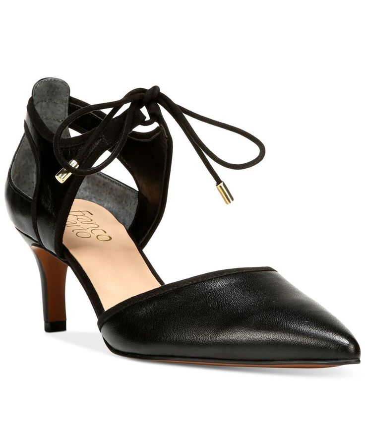 An elegant ankle tie and pointed toe make Franco Sarto's Darlis pumps a sophisticated accent to your office or evening look. | Leather/manmade or fabric/manmade uppers; rubber sole | Imported | Fabric