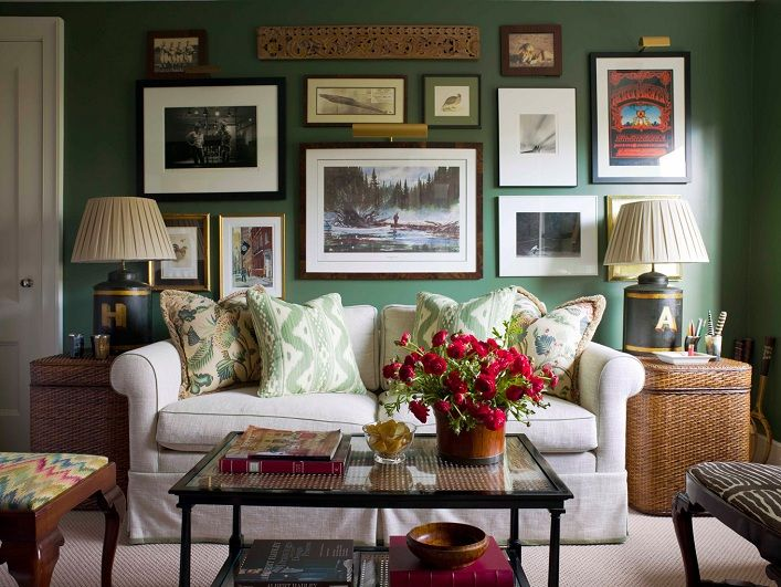 Ashley Whittaker Design: Chic Living Room With Green Walls Paint Color,  Eclectic Art Gallery, Mushroom Linen .