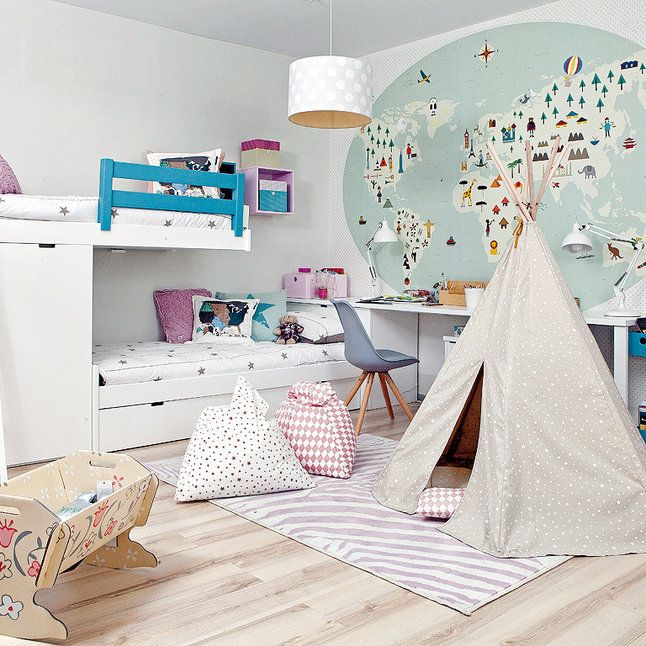 kids bedroom with bunk beds and play tipi..