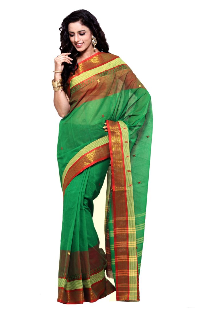 Hand Woven Tant Pure Cotton Green Sari