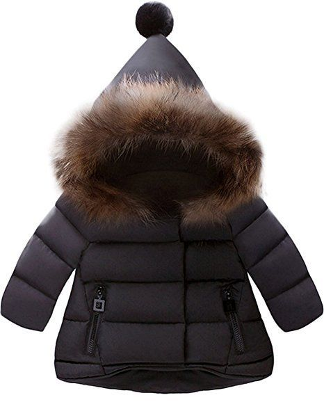 Cute Winter Kids Clothes -- Black Kids Fur Hooded Snow Coat -- Mommy Blogger - The Overwhelmed Mommy #wintercoatssnow