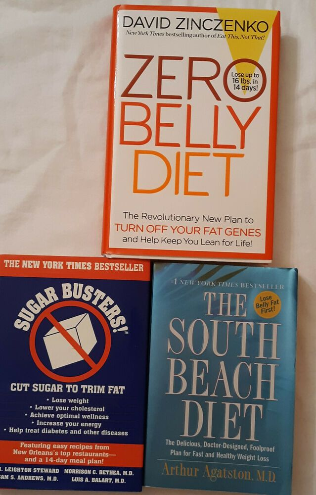Lot 3 Diet Books South Beach Sugar Busters Zero Belly Diet Used Free Shipping Zero Belly Diet Sugar Busters Diet Books