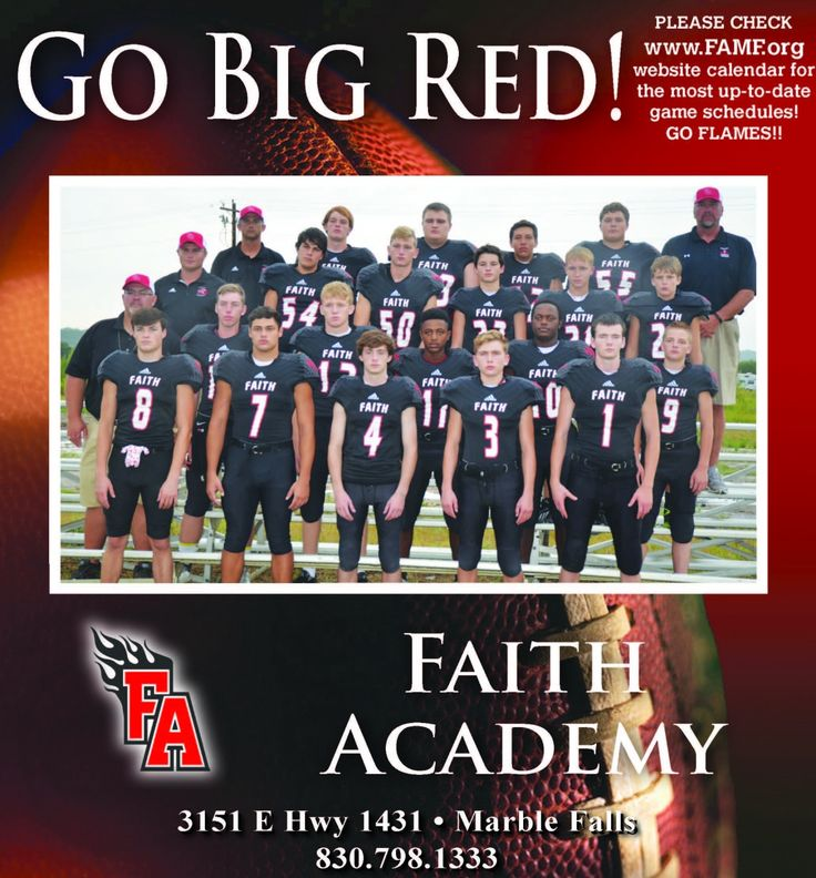 Go Big Red!    PLEASE CHECK website calendar for the most up-to-date game schedules!    GO... | Faith Academy - Marble Falls, TX #texas #MarbleFallsTX #shoplocal #localTX