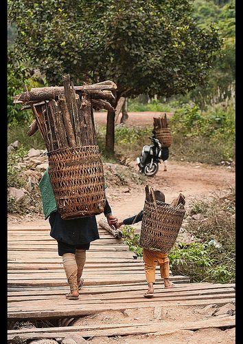 Ethnic Lanten woman and her son carrying wood, Luang Nam Tha, Laos