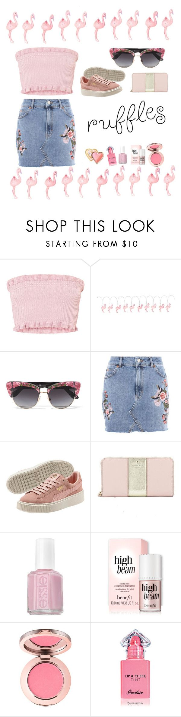 """Pinky ruffles"" by begumbs ❤ liked on Polyvore featuring Sunnylife, Dolce&Gabbana, Topshop, Kate Spade, Essie, Guerlain, Too Faced Cosmetics, ruffles and ruffledtops"
