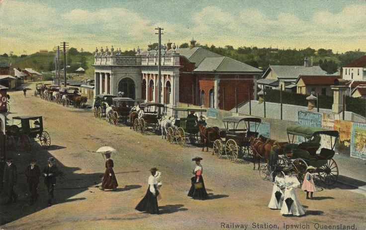 Ipswich Railway Station, ca. 1906 / John Oxley Library, State Library of Queensland, Neg: 194879 http://hdl.handle.net/10462/deriv/2257 | thefashionarchives.org