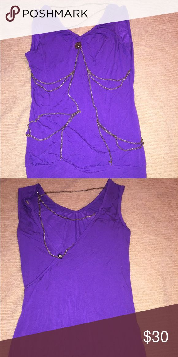 Apple bottom purple chained tank top very stylish This is a super cute top it have the tank top feel w/ all the bells and whistles, very comfortable but has gold chain detailing interweaved throughout the shirt and along the back super cute with jeans or leggings Apple Bottoms Tops Tank Tops