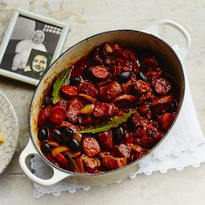 José Pizarro's braised pork with tomatoes, chorizo, thyme and black olives