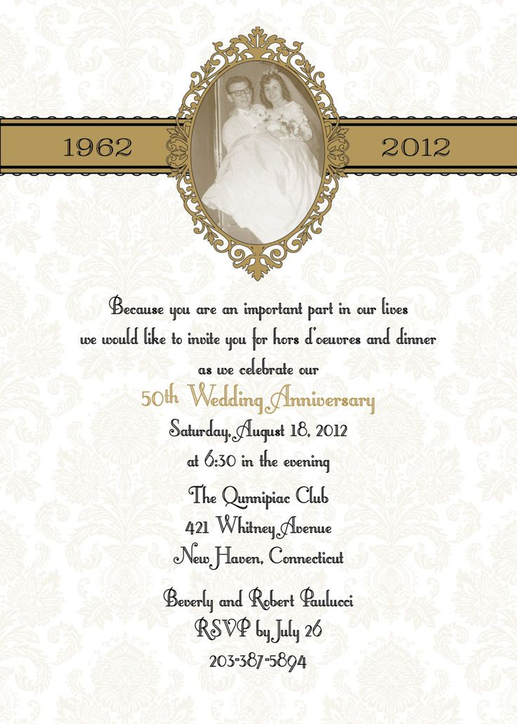 17 best 60th anniversary invitation ideas images on pinterest damask 50th anniversary wedding invitation stopboris