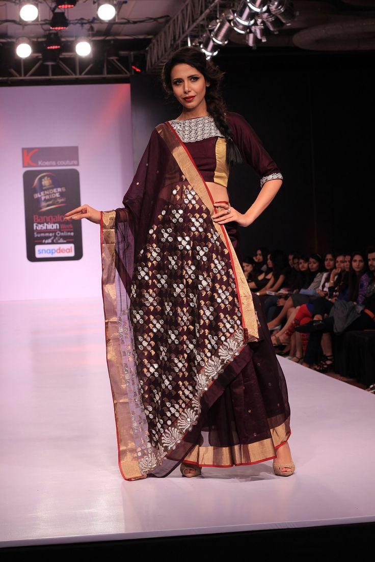 Ace designer #NupurSahoo exhibits a bold #magenta lehenga with a shimmering #choli at #BlendersPride #BFW16