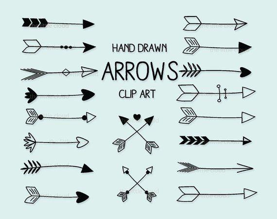 Black hand drawn Arrows Clipart (A set of 18)  | Tattoos