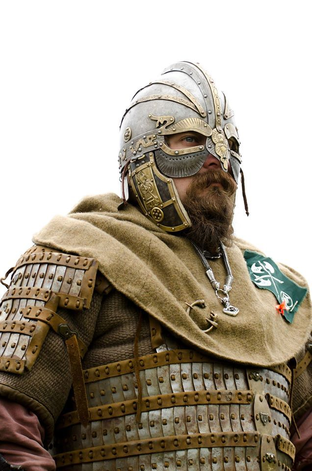 "Interesting platemail armour, rather than chainmale. The helmet is Vendel style, but the Vendels, Angli, Suebi, Juts, Gots, Skane, and other nordic people were, more or less, one and the same people, sharing an ancient culture, that dates back thousands of years. Please stop believing the lies of judeo-christian ""scientists"", who tell you european culture originated in Mesopotania!"