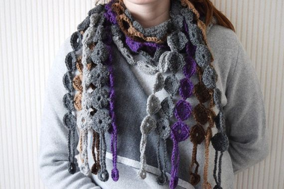 Crochet scarf patternYo-yo crochet scarf PDF by BlageCrochetDesign