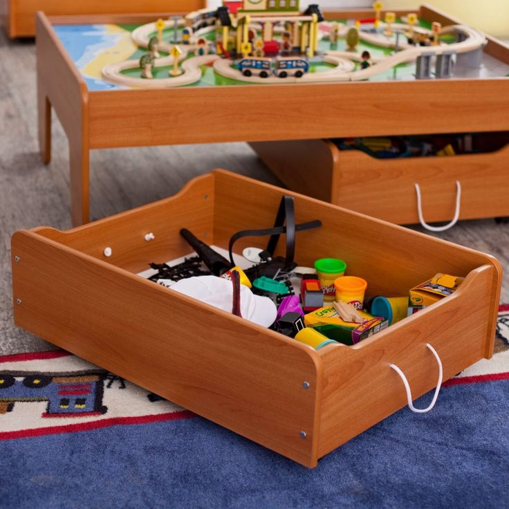 Wooden Honey Train Table And Toy Storage