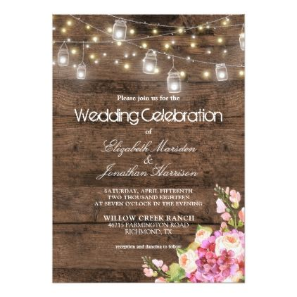 Rustic Mason Jars Lights Blush Floral Wedding Card  $2.01  by AboutTheOccasion  - cyo customize personalize diy idea