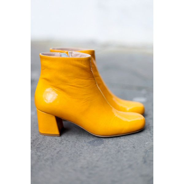 Molly Yellow featuring polyvore women's fashion shoes yellow shoes cushioned shoes block heel shoes