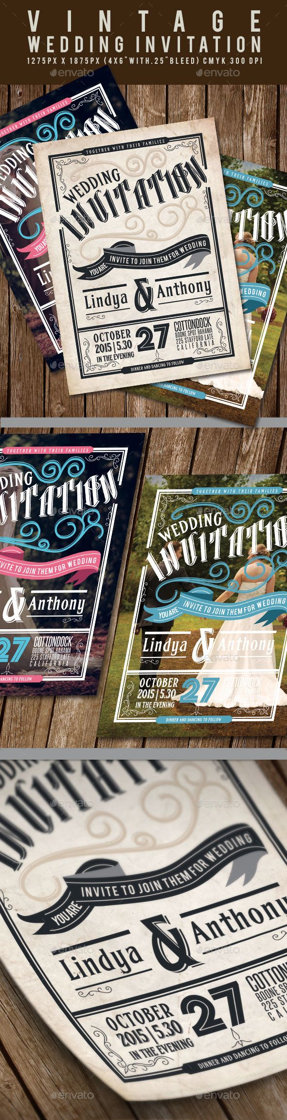 Vintage Wedding Invitation — Photoshop PSD #joy #marry • Available here → https://graphicriver.net/item/vintage-wedding-invitation/11969275?ref=pxcr