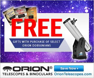Purchase select Orion Dobsonian Telescopes and get Gifts with Purchase for FREE!