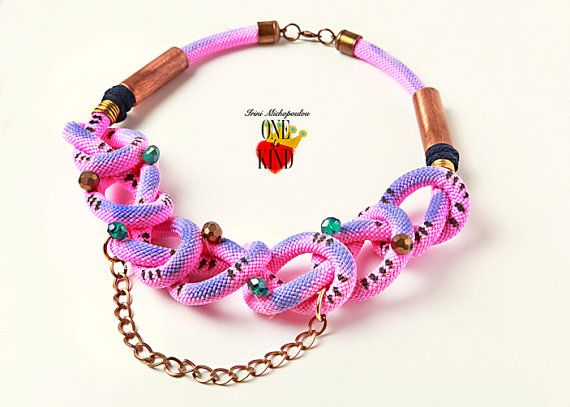 Pink play  statement necklacerope necklacepink by irinimichopoulou