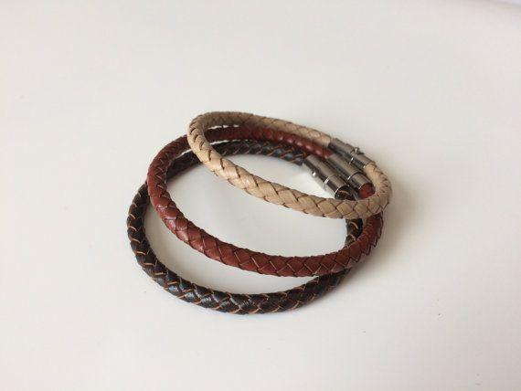 Brown Braided Leather Bracelet Magnet Clasp - Oatmeal Chestnut Espresso Braided Leather Bracelet -  Brown Bracelet - Unisex Bracelet