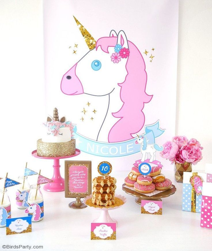 Pink and gold Unicorn slumber birthday party ideas with lots of DIY decorations, party printables, sweet party food and favors!   #unicornparty #unicornbirthday #slumberparty #unicornpartyideas #unicornbirthdayparty