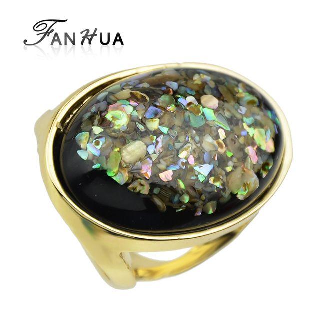 FANHUA Новый Ретро Стиль Золотого Цвета с Черный Создан Драгоценный Камень Эллиптические Кольца Перста Для Повелительницы