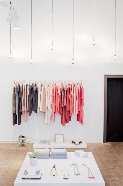 """I like calling lonesome racks like these the """"final decision rack."""" I call them this because I figure that buyers elect pieces to purchase and then the final items that the choose will be displayed on a single rack. Here they can look at all their pieces at once and choose their final pieces from here. The accessories chosen will also be displayed here."""
