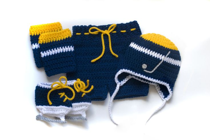 HOCKEY BABY OUTFIT for little Predators, Crochet Hockey Baby, Hockey Baby Boy, Blue Gold Hockey, Hockey Baby Knit Skates, Baby Hockey Knit by Grandmabilt on Etsy