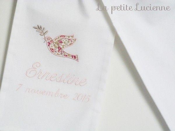 Etole de bapteme en liberty- Etole blanche brodée (modèle H) - La petite Lucienne