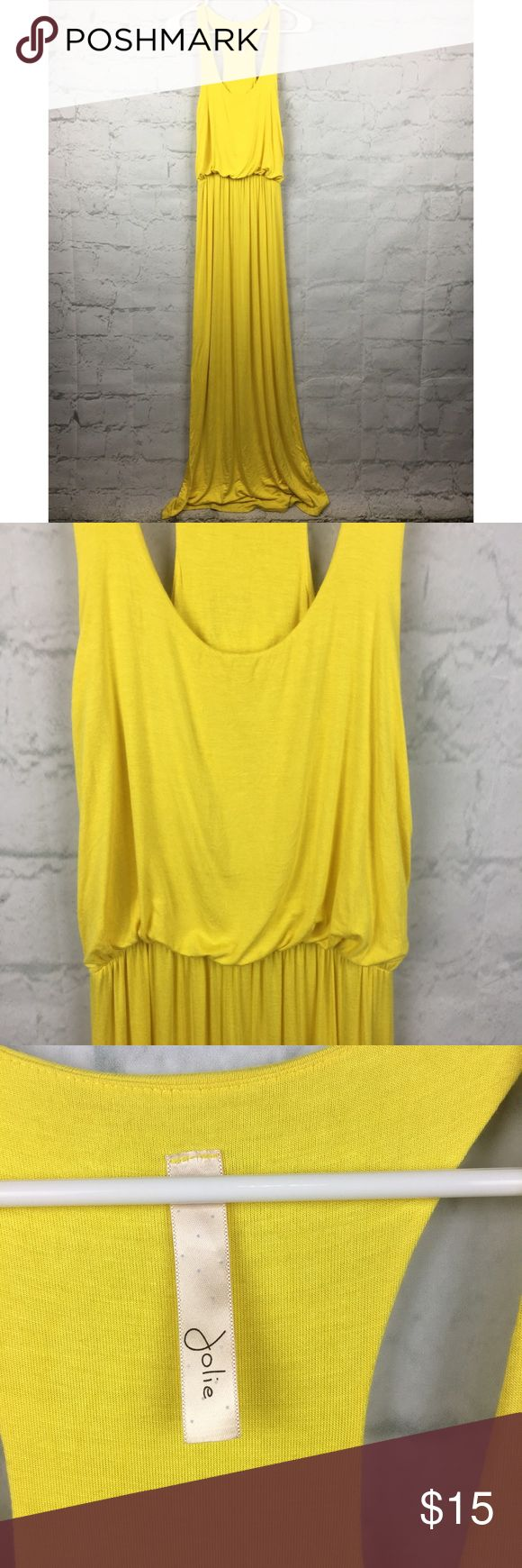 "Jolie Long Racerback yellow Maxi dress size S Super cute and fun for summer. Long bright yellow Maxi dress. Size small. Armpit to armpit laying flat- 14"". Length- 63"".       97% rayon, 3% spandex jolie Dresses Maxi"