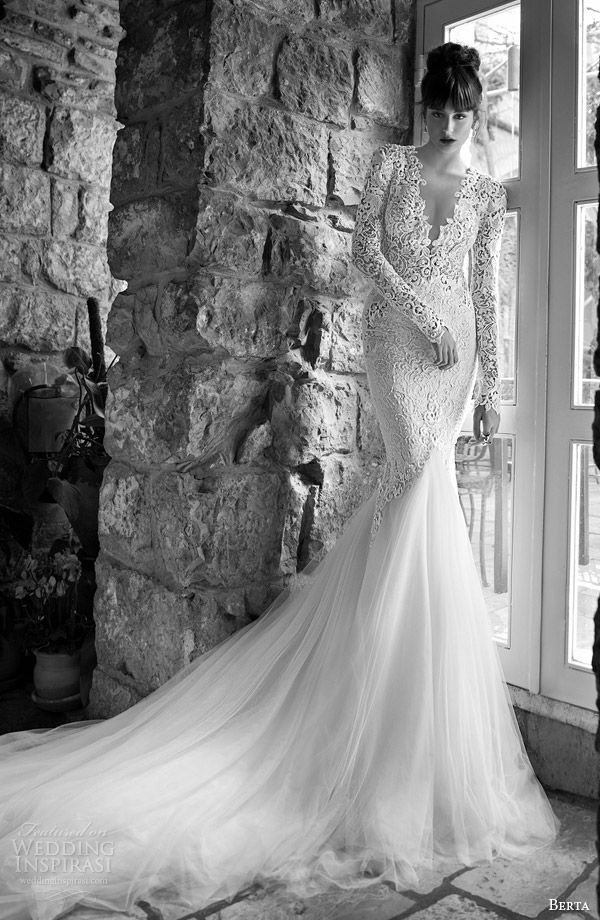 berta bridal 2014 summer edition long sleeve mermaid wedding dress full