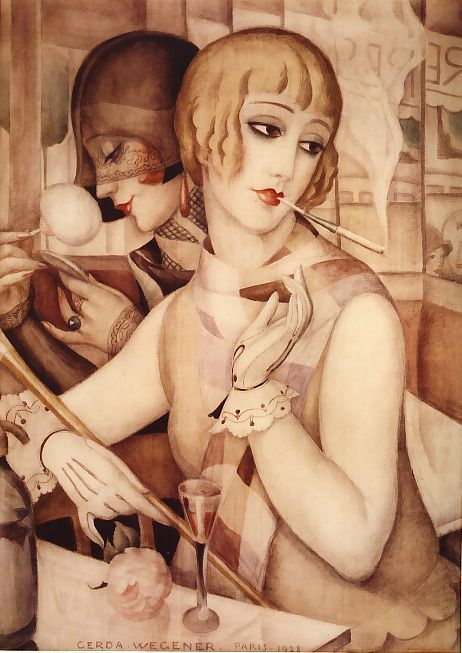 'L'Aperitif' (1928) by Danish Art Deco illustrator & painter Gerda Wegener (1886-1940). via the ship that flew