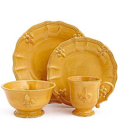 Artimino FleurdeLis Yellow Dinnerware #Dillards