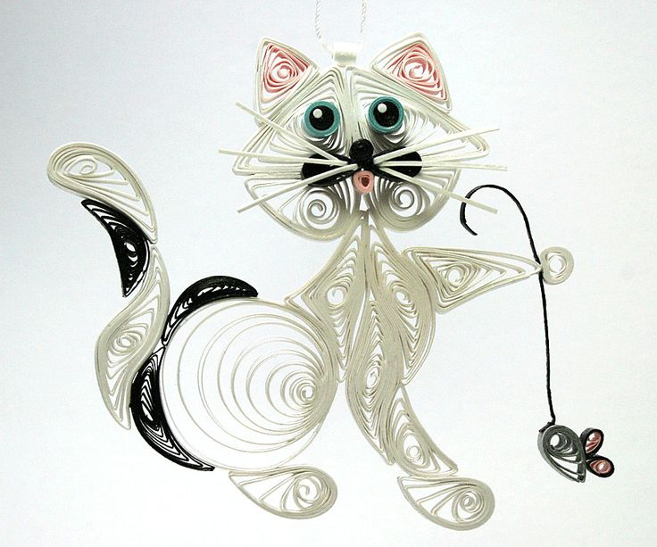Quilled / Filigree Kitty Cat Hanging Ornament: White with a Splash of Black, Turquoise Colored Eyes with a Little Gray Mouse Held in Paw. $24.95, via Etsy.