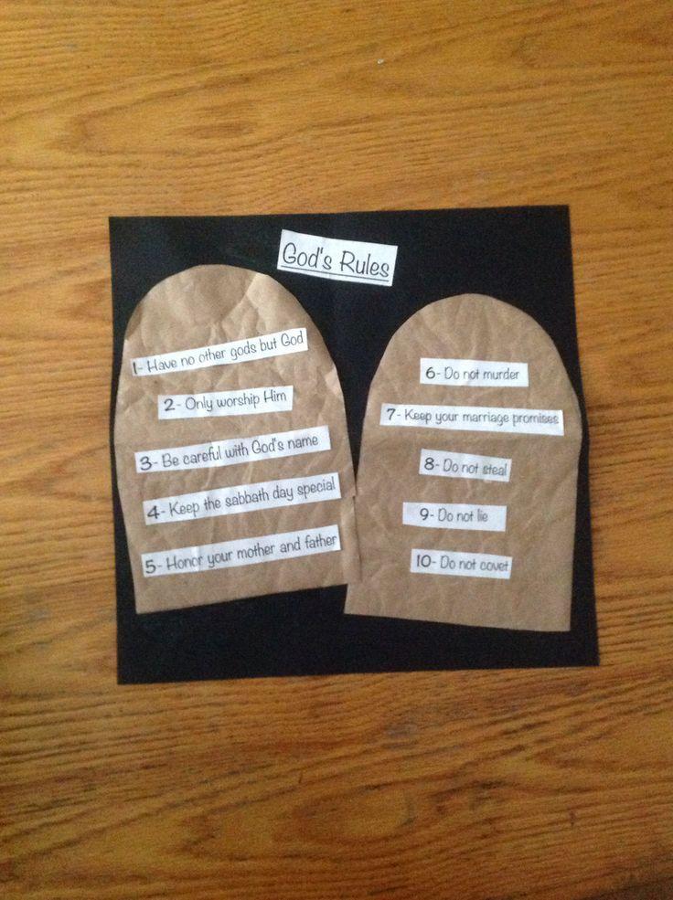 10 Commandments God's Rules #BibleCraft #TenCommandments #ChildrensChurch