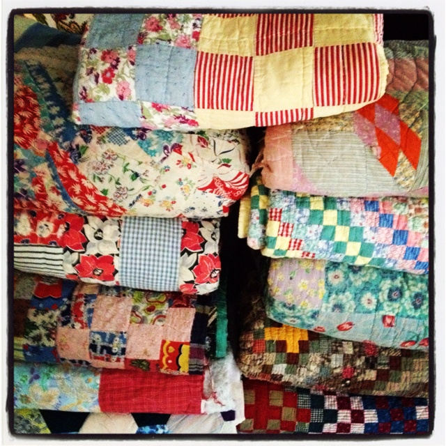 My collection of #vintage #quilts, all were made by past generations of mine and my husbands family's with the exception of one.