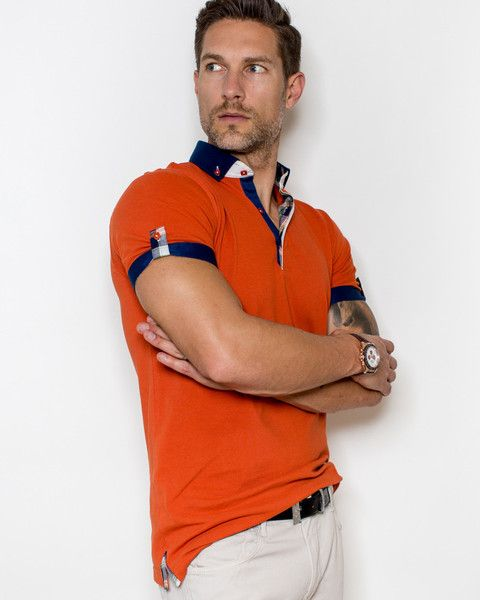 Orange polo shirt for men by Maceoo | S0012