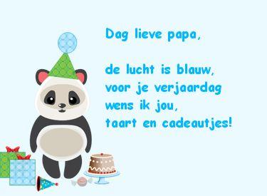 dag lieve papa, de lucht is blauw, voor je verjaardag wens ik jou, taart en cadeautjes