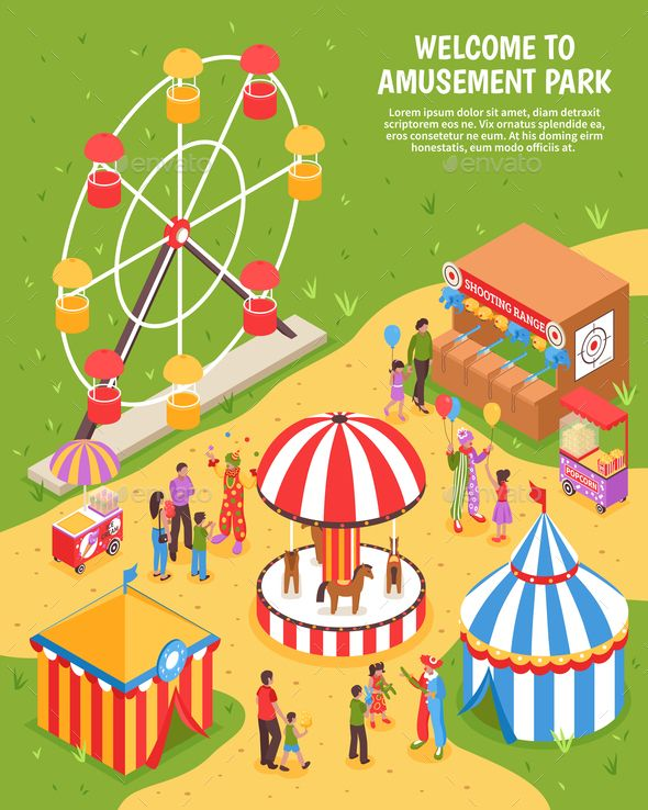 Amusement park isometric poster with carousel ferris wheel shooting range clowns meeting visitors 3d vector illustrationSasappetislnu
